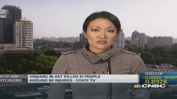 China Xinjiang blast kills 31 people