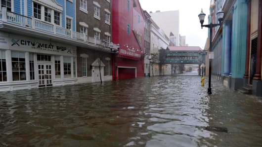 A flooded street between two casinos along the Boardwalk before the arrival of Hurricane Sandy October 29, 2012 in Atlantic City, New Jersey.