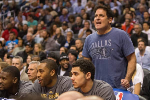 Mark Cuban, Owner of the Dallas Mavericks, reacts to a call during the game against the Los Angeles Clippers on April 3, 2014 at Staples Center in Los Angeles, California.