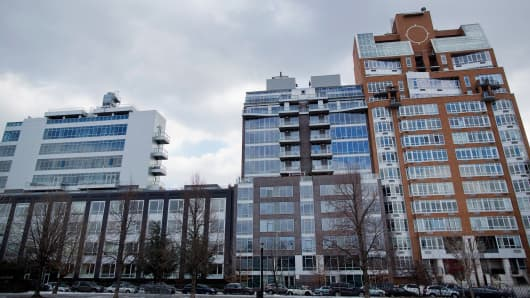 Condominiums stand near McCarren Park in Brooklyn, New York.