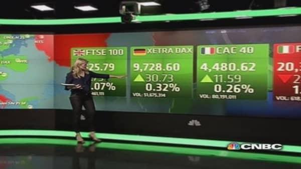 Europe stocks close slightly up on mixed PMI data