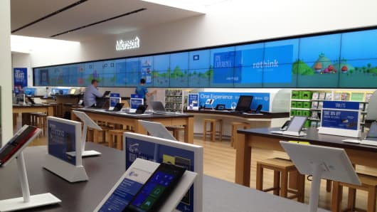 Microsoft's new retail stores feature products including the Surface tablet.
