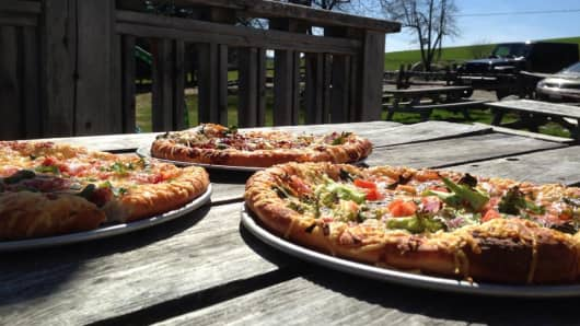 Gourmet pizzas at Parker Pie in West Glover, Vt., in May 2014