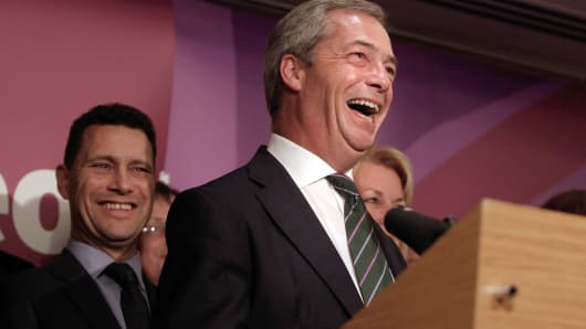 Nigel Farage, leader of UKIP, speaks during a press conference in London after his party's first win in a national election.
