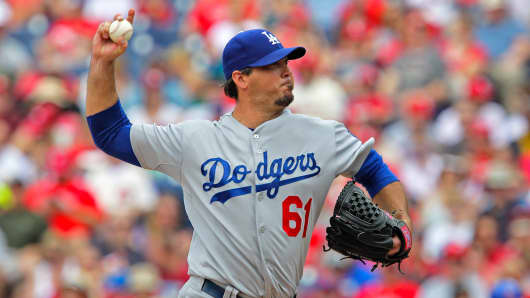 Pitcher Josh Beckett of the Los Angeles Dodgers in the first inning during a game against the Philadelphia Phillies, at Citizens Bank Park, May 25, 2014 in Philadelphia.