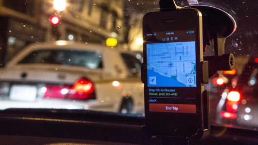 Inside a UberX taxi, Washington, D.C.