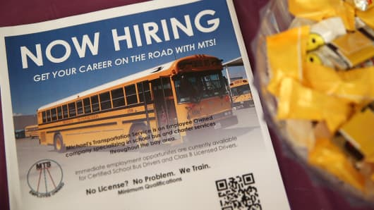 A flier announcing job openings sits on a table during a career fair at the Southeast Community Facility Commission on May 21, 2014 in San Francisco, Calif.