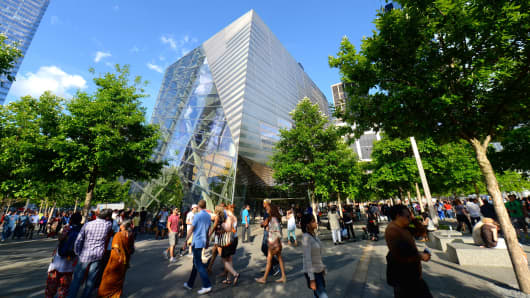 People visit the National 9/11 Memorial Museum in New York.