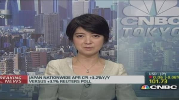 April CPI shows Japan out of deflation: RBS