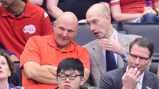 Steve Ballmer, left, and NBA Commissioner Adam SIlver attend an NBA playoff game between the Oklahoma City Thunder and the Los Angeles Clippers at Staples Center on May 11, 2014 in Los Angeles.
