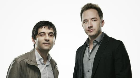 Arash Ferdowsi (left) and Drew Houston, co-founders of Dropbox