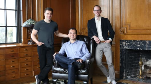 (Left to right) Brian Chesky, Nathan Blecharczyk and Joe Gebbia, co-founders of Airbnb
