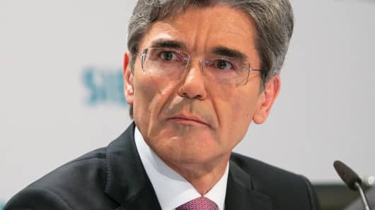 Joe Kaeser, chief executive officer of Siemens AG, during a news conference in Berlin, Germany, May 7, 2014.