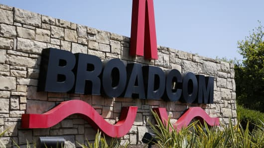 Broadcom Corp. signage is displayed outside of the company's headquarters in Irvine, California.