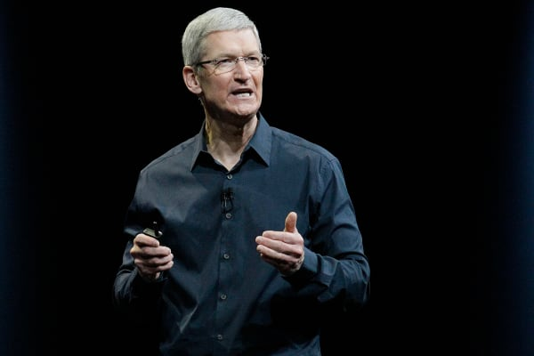 Apple CEO Tim Cook speaks at the Apple Worldwide Developers Conference event in San Francisco, Monday, June 2, 2014.