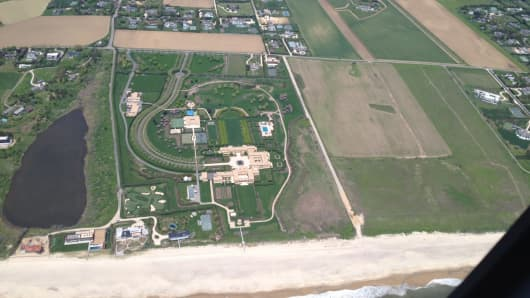 Aerial view of billionaire Ira Rennert's home in the Hamptons.
