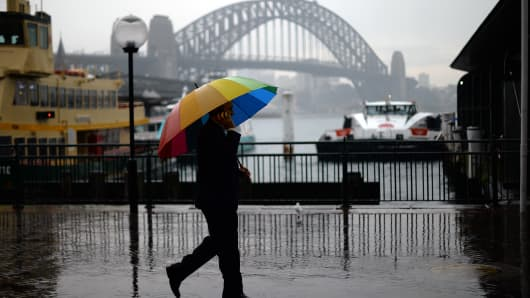 A pedestrian with an umbrella in front of the Sydney's iconic landmark Harbour Bridge.