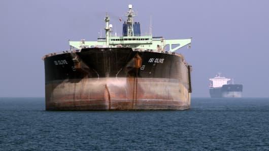 An oil tanker is seen off the port of Bandar Abbas, southern Iran.