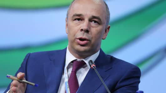Anton Siluanov, Russia's finance minister, speaks during the Global CEO Summit on the opening day of the St. Petersburg International Economic Forum in Saint Petersburg, Russia, May 22, 2014.