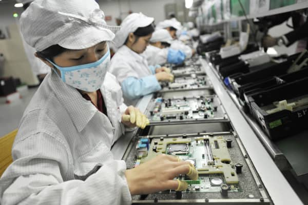 Workers in the Foxconn factory in Shenzhen, China.