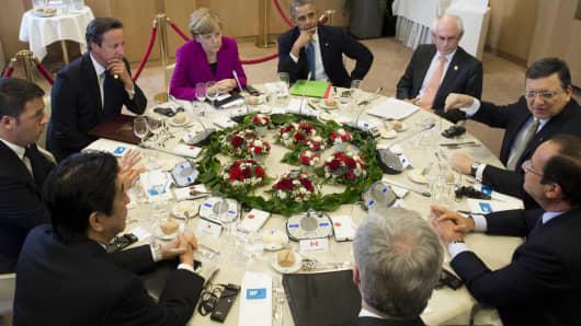 G-7 leaders at a working dinner in Brussels, Belgium, on June 4, 2014.