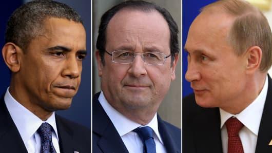 President Barack Obama, President Francois Hollande and President Vladimir Putin.