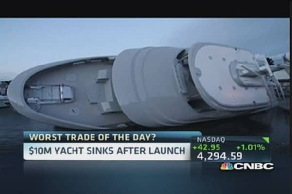 $10 Million yacht capsizes after launch