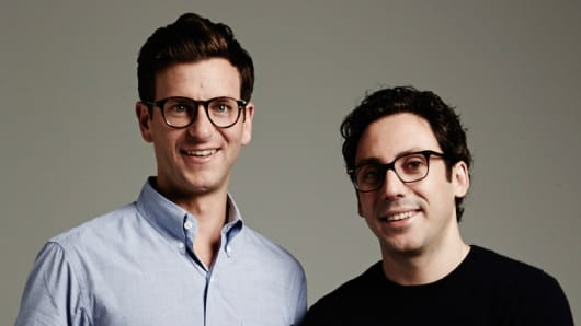 Two of the Warby Parker founders, David Gilboa (left) and Neil Blumenthal