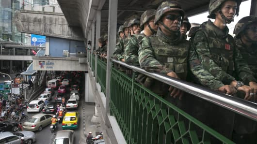 Thailand soldiers secure a bridge adjacent to the Bangkok skytrain on June 1 to prevent anti-coup protesters from gathering there.