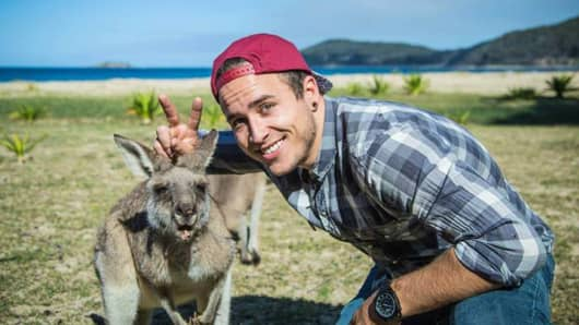 """Say, cheese!"" Bringing the fun to kangaroos at Pebbly Beach."
