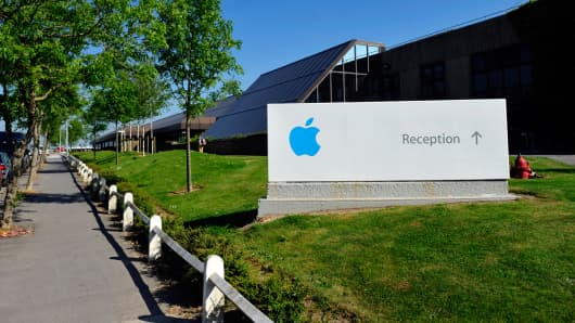 A sign outside Apple Inc.'s campus in Cork, Ireland, on Tuesday, June 4, 2013.