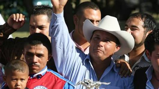 Jose Trevino Morales after winning a race in 2010.