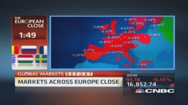 EU shares close lower; World Bank cuts forecasts