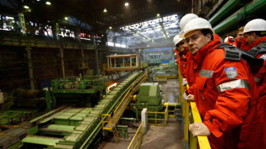 Russian Prime Minister Dmitry Medvedev visits of the rail and beam shop of Evraz, Russia's largest steelmaker