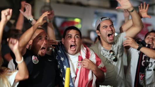 Fans celebrating team USA win in a FIFA qualifying match in Miami.