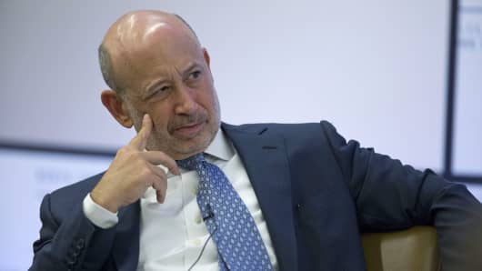 Lloyd Blankfein, chief executive officer of Goldman Sachs Group Inc., listens during a panel discussion ahead of the Goldman Sachs North American Energy Summit in New York.