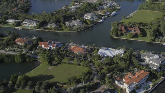 Aerial view of mansions in Coral Gables, Florida.
