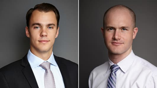 Fred Ehrsam (left) and Brian Armstrong, founders of Coinbase