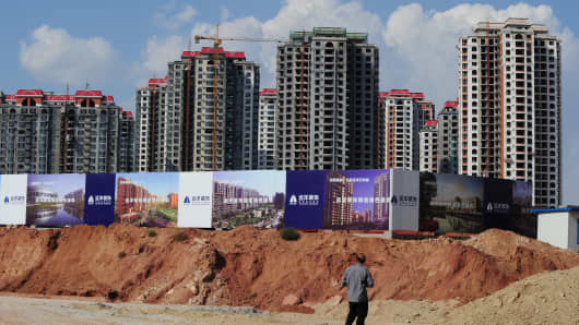 Empty apartment developments in the Chinese city Ordos in Inner Mongolia in 2011