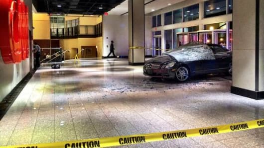 A car crashed into the lobby of CNN this morning.