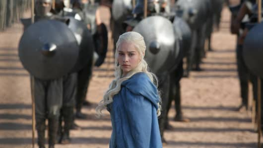 "This publicity image released by HBO shows Emilia Clarke in a scene from ""Game of Thrones."""