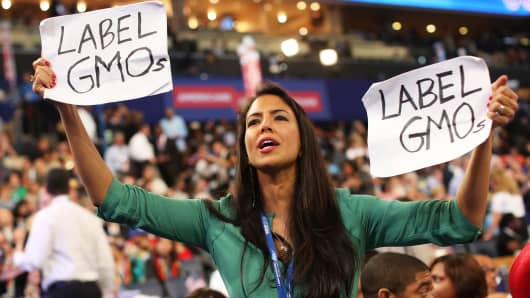 Delegate Vani Hari holds signs that say 'Label GMOs' during day two of the Democratic National Convention at Time Warner Cable Arena on September 5, 2012 in Charlotte, North Carolina.