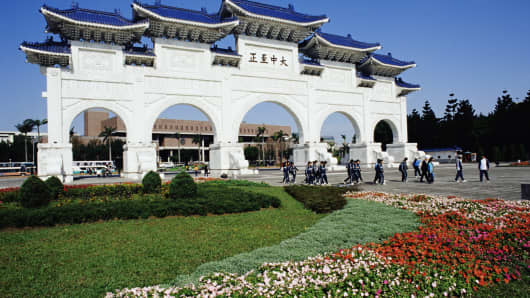 The Chiang Kai Shek Memorial Park in Taipei, Taiwan.