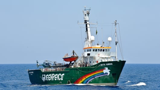 Environmental group Greenpeace ship Artic Sunrise navigates on the Mediterranean sea