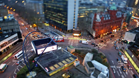 Old Street roundabout, in the area known as London's Tech City