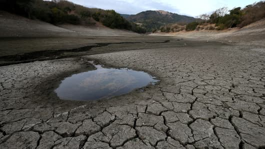 The bottom of the Almaden Reservoir in San Jose, California on January 28, 2014.