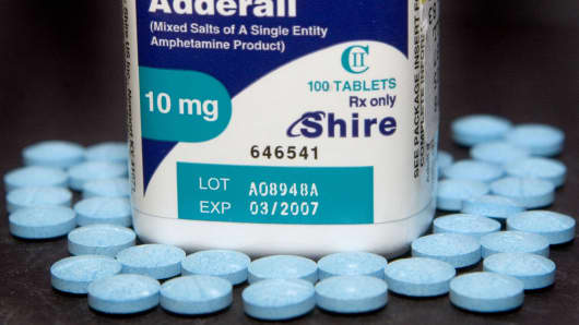 Ten milligram tablets of the hyperactivity drug, Adderall, made by Shire Plc.