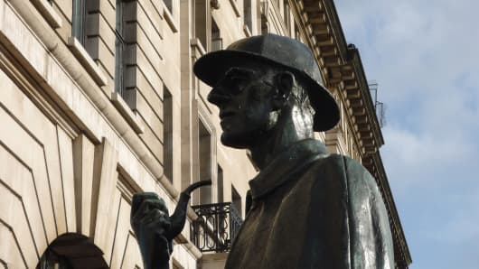 A statue of Sherlock Holmes near the site of the fictional detective's home at 221B Baker Street.