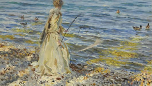 "John Singer Sargent's ""Girl Fishing"" is expected to sell for between $3 million and $5 million."