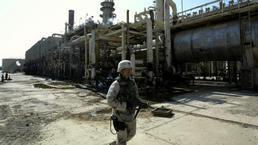 The petroleum refinery outside of Bayji in Iraq